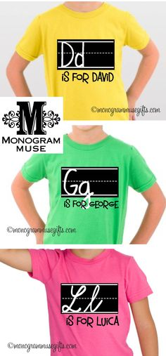 For their first day and all year round!--> our original practice handwriting tees! Available in print or cursive writing.. on any color tee! from monogrammusegifts.com