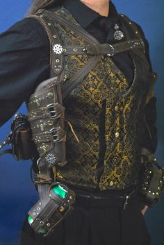 steampunk - brocade vest with leather harness - LOVE the soda can carrier!!