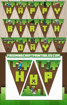 Fiesta de Minecraft: Banderines de Happy Birthday para Imprimir Gratis.