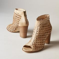 """TRIANON SHOES--A centuries-old caning technique in supple, washed leather gives these stacked-heel, peep-toe shoes an air of antiquity. Italy. Exclusive. Euro whole sizes 36 to 41. 36 (US 5.5), 37 (US 6.5), 38 (US 7.5), 39 (US 8.5), 40 (US 9.5), 41 (US 10). 3"""" heel."""