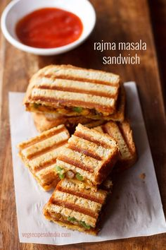 Rajma sandwich recipe with step by step photos - Tasty grilled sandwiches made with a spiced rajma stuffing. #sandwich #rajma
