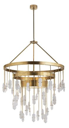 KELLY WEARSTLER | HALCYON LARGE CHANDELIER. Featuring hand-selected solid natural quartz stones in a brass frame