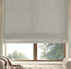 RH's Belgian Heavyweight Textured Linen Flat Roman Shade:Highly functional and aesthetically clean, our custom Flat Roman Shades ensure that the windows themselves are part of the view. Sewn with a smooth front, they come in a variety of natural materials and fabric options that are also available in our drapery collections – allowing you to combine coverings in the same room, or even on the same window, with perfect ease. May also be layered over our Solar or Blackout Roller Shades.For...