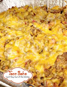 Taco Bake   Can't Stay Out of the Kitchen   this easy 7-ingredient #casserole is filled with #beef #cheese #tortillachips and diced tomatoes with green chilies. #glutenfree #Tex-Mex