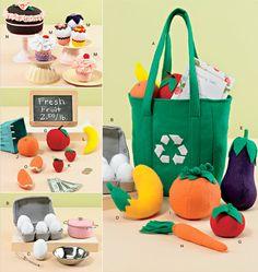 FELT FOOD & SHOPPING Bag Sewing Pattern  Cupcake by patterns4you, $6.95