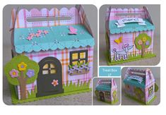 Treat box cottage Picnic Box, Clever Packaging, Spinner Card, Gable Boxes, Slider Cards, Lawn Fawn Stamps, Pop Up Cards, Cricut, Scrapbooking