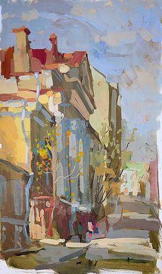Vyacheslav Korolenko, Arkhipova Street, gouache