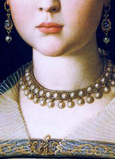 Virginia,daughter of Cosimo I de Medici, c.1550 by Angolo Bronzino  - Click to enlarge