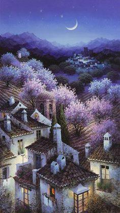 Luis Romero, pittore spagnolo Landscape Artwork, City Landscape, Landscape Illustration, Watercolor Landscape, Mystical Forest, Oil Painting Pictures, Spanish Artists, Witch Art, Fantasy Paintings