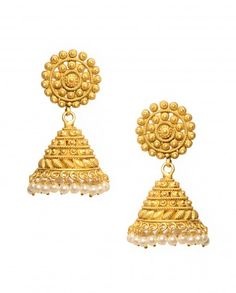 Golden Bell Earrings with Pearl Drops