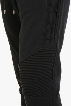 Balmain - Cotton-jersey biker sweatpants with lacing - Mens sweatpants