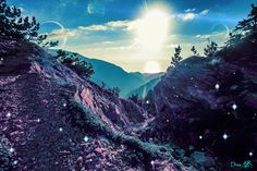 #view #alien #aliens #purple #fireflies #sun #planets #universe #fantasy #fairytale #hiking #path Alien Worlds, Collage Artists, Surreal Art, Digital Collage, Art Day, Aliens, Fantasy, Mountains, Nature