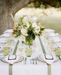 Southern weddings - magnolia leaf centerpiece