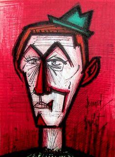 Bernard Buffet Lithograph ''''Le Clown Au Fond Rouge'''' 18 x 24 . Buy Art, Find Art, Gustave Courbet, Art Aquarelle, Le Clown, Art Original, Art For Art Sake, Horror Art, Red Background