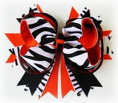 Black and Orange Zebra Hair Bow.
