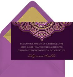 Indian Inspired Invitations in Purple | Greenvelope.com Budget Planner, Guest List, Wedding Story, Traditional Wedding, Wedding Suits, Wedding Cards, Real Weddings, Invitations, Indian