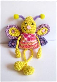 Schmetterling häkeln-Spielzeug-Taschenbaumler