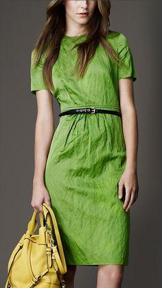 Burberry London Gathered Skirt Satin Dress