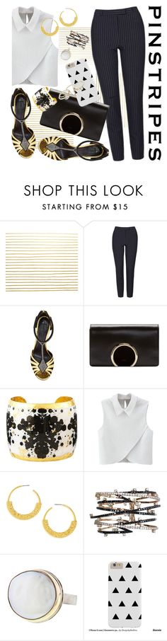 """Pinstripe: Black/White"" by petalp ❤ liked on Polyvore featuring Topshop, Rodarte, Chloé, Évocateur, WithChic, BaubleBar, Jamie Joseph, Lipsy, contest and ootd"