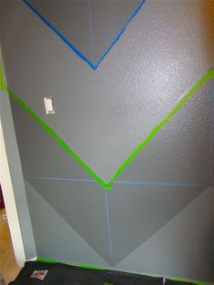 How to paint chevron walls. Love the tone on tone grey- exactly what I want for our nursery (one wall)!
