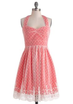 Berry Delight Dress - Mid-length, Pink, White, Polka Dots, Embroidery, Lace, Daytime Party, A-line, Halter, Sweetheart, Vintage Inspired, 50s, 60s