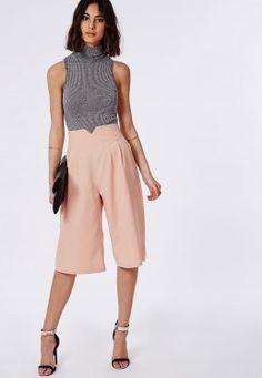 High Waisted Culottes Dusky Pink
