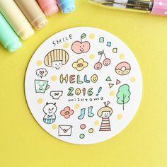 今年もよろしくです  穏やかな1年になりますように  #mizutamaお絵描きコースター by mizutamahanco Cute Handwriting, Pen Illustration, Cute Doodles, Line Drawing, Art Lessons, Embroidery Patterns, Coloring Pages, Art Drawings, How To Draw Hands