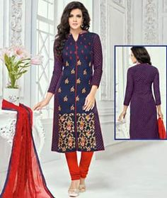Buy Navy Blue Chanderi Cotton Churidar Suit 72162 online at lowest price from huge collection of salwar kameez at Indianclothstore.com.