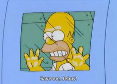 Homer: Save me, Jebus! Wikipedia doesnt acknowledge His existence, so lets see what Urban Dictionary has to say: A version of the word Jesus created by Homer Simpson when he became a missionary. Used for comical purposes instead of using Jesus.