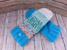 New to KatesHandiwork on Etsy: sweater mittens upcycled sweater mittens recycled sweater mittens ladies mittens handmade mittens warm mittensaqua and peach teal (25.00 USD)