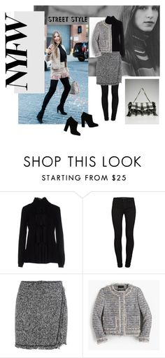 """""""Day Three: The Best NYFW Street Style"""" by lovesparisstudio ❤ liked on Polyvore featuring Moschino, J Brand, J.Crew, Giuseppe Zanotti, women's clothing, women, female, woman, misses and juniors"""