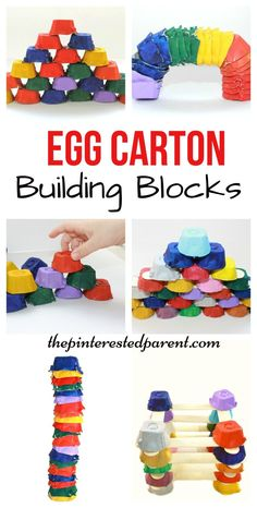 Great loose parts play! Egg Carton building blocks for kids - Engineering & STEM - kids art, crafts, learning activities with recyclables Stem For Kids, Art For Kids, Kids Fun, Stem For Preschoolers, Learning Activities, Preschool Activities, Recycling Activities For Kids, Recycling Projects For Kids, Toddler Learning