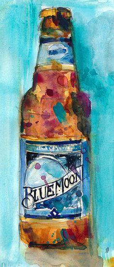 Impresión del arte de cerveza Blue Moon de acuarela Original