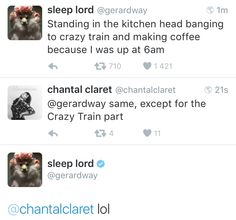 march 12th ✧ gerard way and chantal on twitter