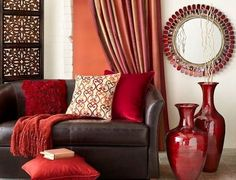 5 Colours Scientifically Proven to Change the Mood of Your Home [Infographic] Red-living-room-with-red-vases Brown Couch Living Room, New Living Room, My New Room, Living Room Decor, Global Decor, Brown Sofa, Room Colors, Home Furniture, Deco Furniture