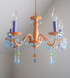 Sherbet and blueberry Nursery Chandelier by ShabulousChandeliers, $210.00