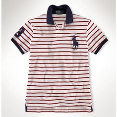 Ralph Lauren Black Big Pony Classic Leisure Light Red Stripe Polo is on promotion, don\u0026#39;t loss the chance.