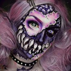 # Makeup 2018 Creepy Halloween Skull Make Up looks for girls and women . Horror Makeup, Scary Makeup, Skull Makeup, Halloween Face Makeup, Sfx Makeup, Cosplay Makeup, Costume Makeup, Halloween Gesicht, Monster Makeup