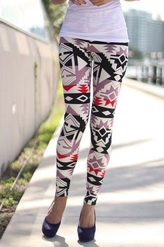 Stylish Mid Waist Geometric Pattern Women's Slimming Leggings