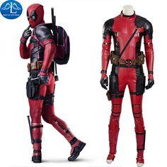 Deadpool Costume Halloween Superhero Red Leather Deadpool Jumpsuit Deadpool Cosplay Costume Custom Made Deadpool Outfit #Affiliate