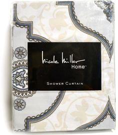 Nicole Miller Fabric Shower Curtain Taupe Pastel Blue Gray Scroll Helga Medallion Print