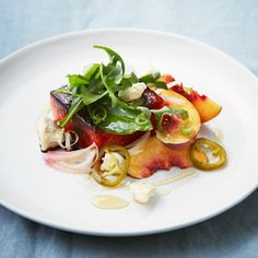 """Caramelized Watermelon Salad with Pickled Jalapeños and Gorgonzola 