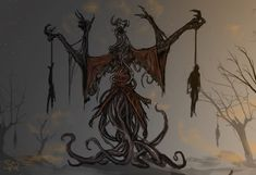 """Carnival concept """"The Puppeteer often wondered if he, too, danced upon a string. When the events around him mirrored the motions of his mannequins, he y. Monster Design, Monster Art, Creature Concept Art, Creature Design, Fantasy Creatures, Mythical Creatures, Fantasy Wizard, Lovecraftian Horror, Eldritch Horror"""