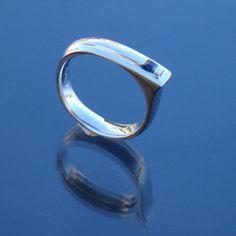 Man's ring silver blue sapphire square princes cut stone