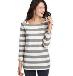Stripe Zip Shoulder Cotton Terry Tunic