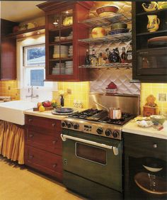 So many great ideas. Love shelf with lights over sink. country sink with curtain below to cover roll-out storage?, LOVE the diamond stainless steel over stove with stainless steel open shelves and wide base cabinet beside stove