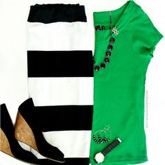 black and white striped skirt with green top
