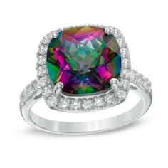 11.0mm Cushion-Cut Mystic Fire® Topaz and Lab-Created White Sapphire Frame Ring in Sterling Silver - Size 7