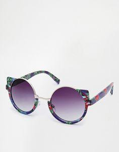 ASOS Tropical Print Half Frame Round Sunglasses