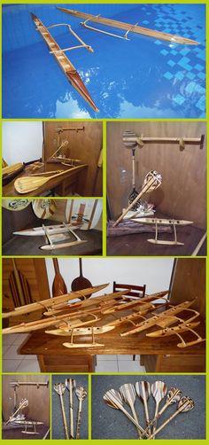 miniaturas de remos e canoas